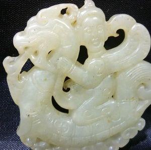 Jade pendant kylin rider hand carved Jade genuine